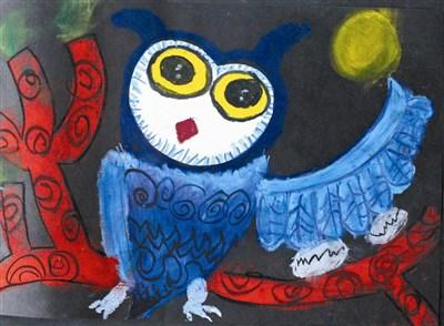 童画天地--猫头鹰拼贴画法