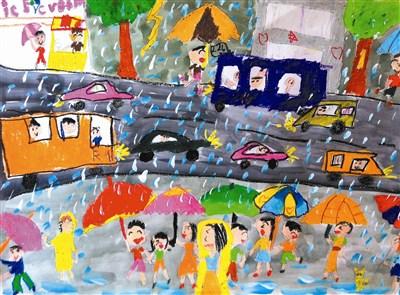 儿童下雨的图片简笔画