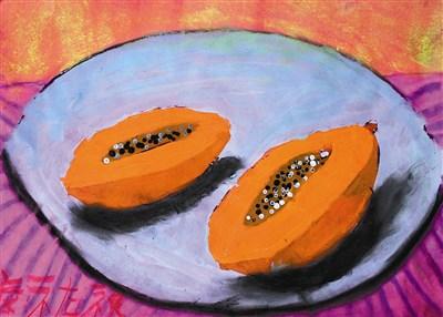 童画天地水彩画法—木瓜