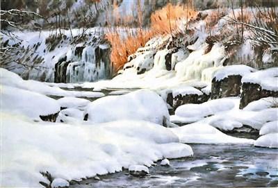 巧妙的搭配水分,并在水彩纸下「留白底」,绘出长白山下的白色世界,肖