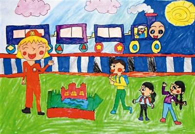 火车儿童画步骤
