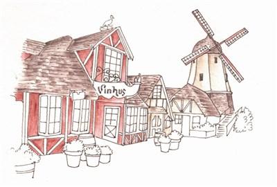 手绘横排房子立面图