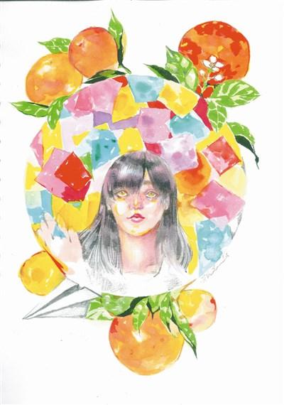 剖形状的手绘橘子图案