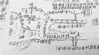 卢文珍(中)透过造桥乡公所帮忙寻亲,右图为他凭印象画出的故乡地图.